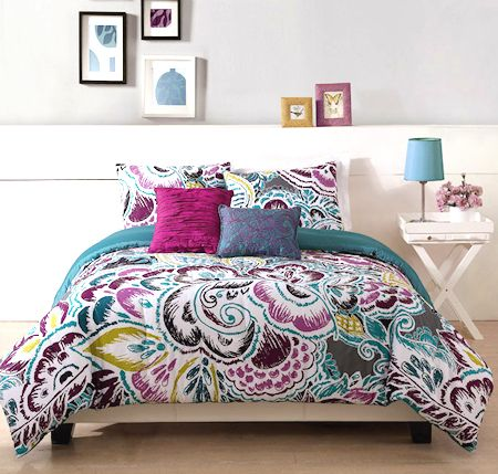 Modern Purple Blue Teen Girl Bedding Twin Or King Comforter Set Tropical Floral