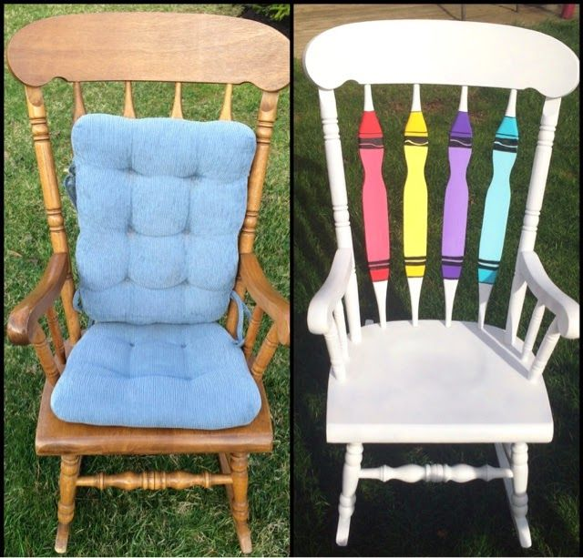 Through Their Little Eyes: Rocking Chair Revamp, redo, classroom, chair, refurbished, repurposed, crayon, teacher chair