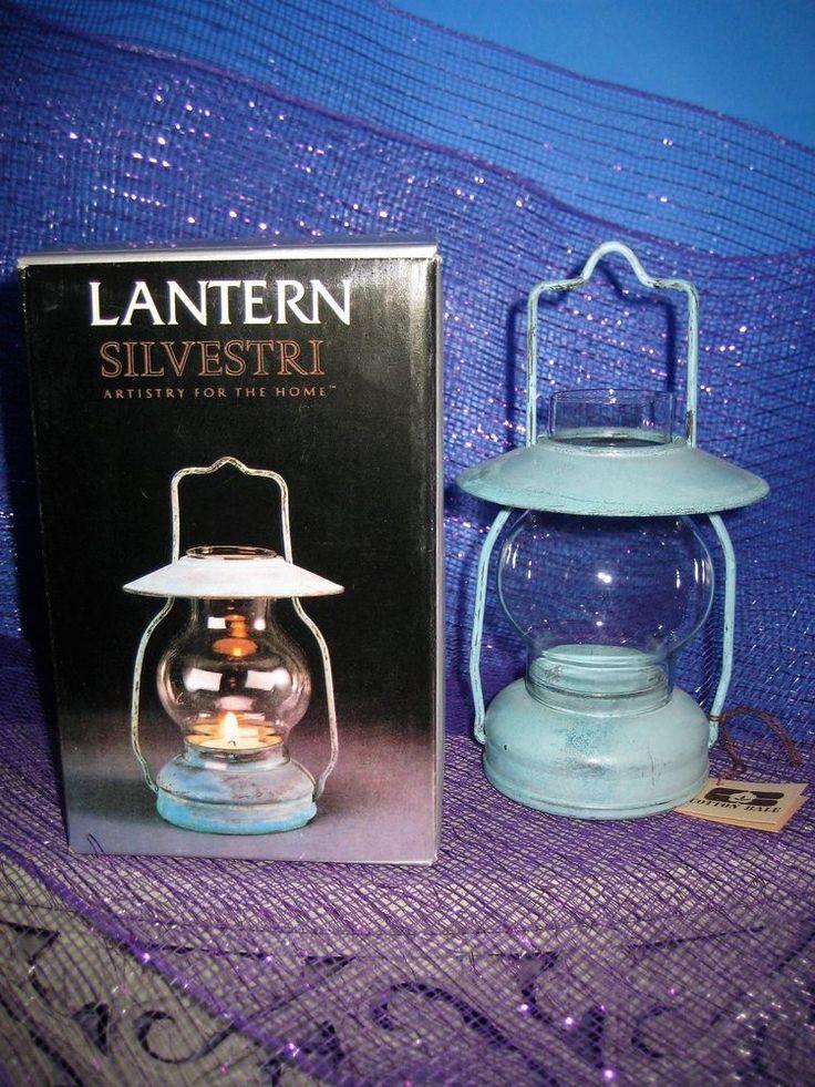 Lantern Tea Light Holder By Silvestri Verdigri Finish W/ Clear Glass Shade NIB  #Silvestri #Farmhouse