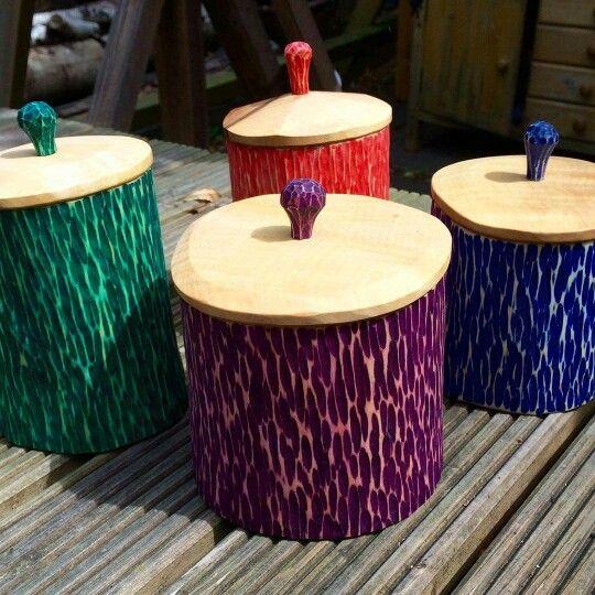 Wonderfully colourful sheink pots by John Mullaney.