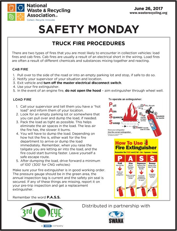 Safety Tuesday - Truck Fire Procedures - Garbage Man Day SWANA