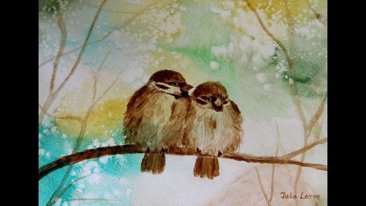🎨 How to draw sparrows coffee and watercolor /Как нарисовать пару воробь...