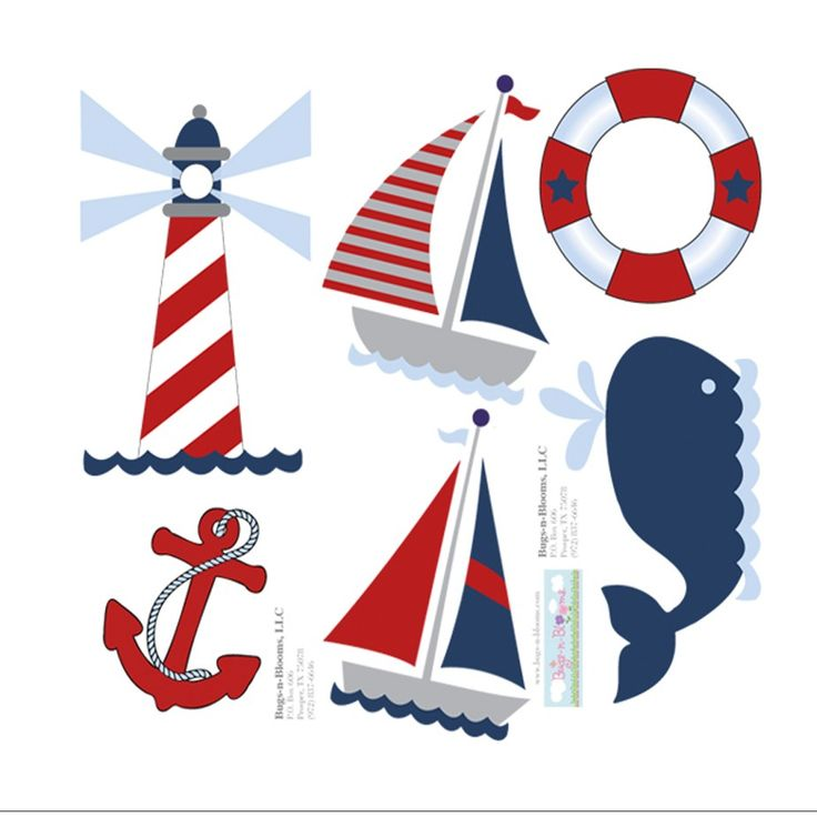 Nautical Wall Mural Removable Vinyl Stickers | Ocean Themed Wall Decals | Boat Whale Light House Graphics