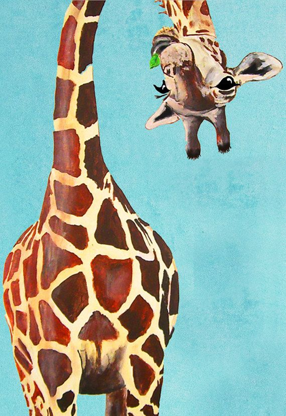 Animal painting portrait painting Giclee Print Acrylic Painting Illustration Print wall art wall decor Wall Hanging: giraffe with leaf on Etsy, $10.00
