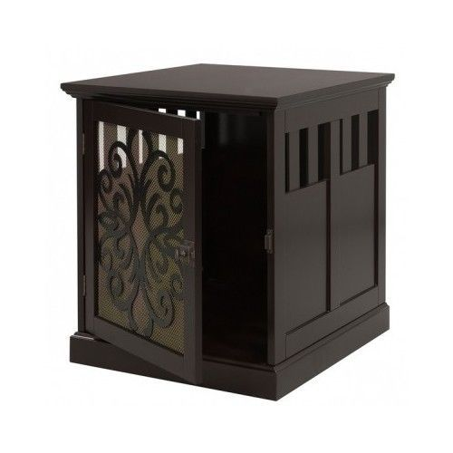 Indoor Pet House Espresso End Table Hidden Dog Cat Crate Kennel Modern Furniture #Unbranded