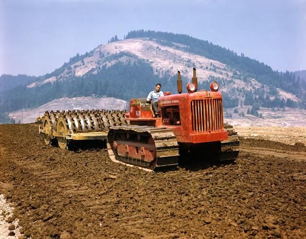 International Diesel TD-24 Crawler Tractor with Dual Roller | Photograph | Wisconsin Historical Society