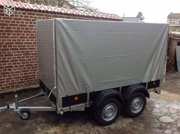 Remorque double essieux avec bâche hautePTAC 750KG