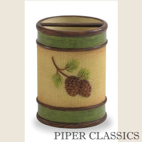 "Pine Bluff Toothbrush Holder features wide openings to accomodate electric toothbrushes - 4.5"" H x 3.5"" diameter. The warm everyday colors, just right for your eclectic country style, will make you feel right at home. Resin."