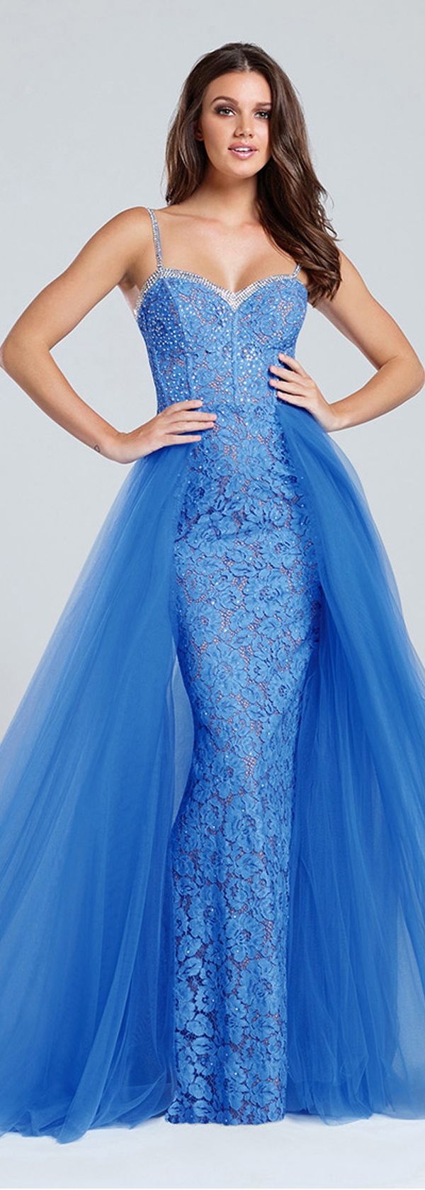 Glamorous Tulle & Lace Spaghetti Straps Neckline A-Line Evening Dresses With Hot Fix Rhinestone