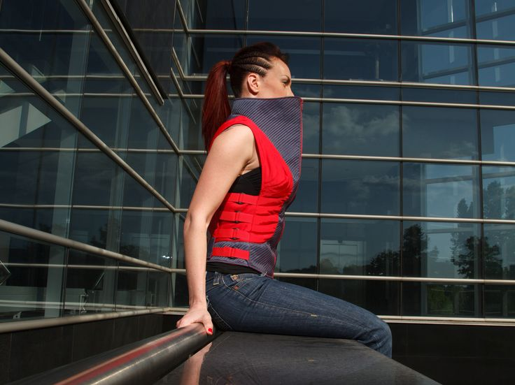 High-collar quilted red blue vest  Cyberpunk Futuristic Sci-Fi Hi tech fashion clothing design