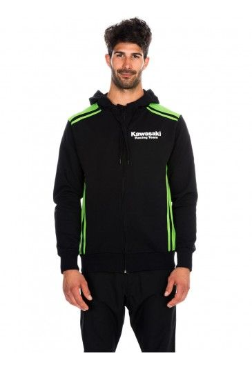 Kawasaki black #Hoodie for the man of the collection Kawasaki Racing Team. Black Hoodie with green double lines on sides and shoulders. On chest the Kawasaki logo and on back the #Kawasaki Racing Team logo. #worldsbk
