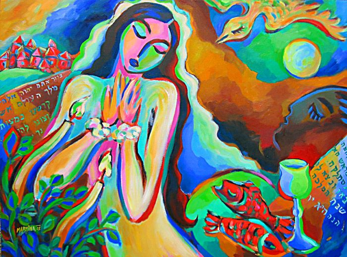Shabbat blessing jewish art original oil painting by for Israeli artists oil paintings
