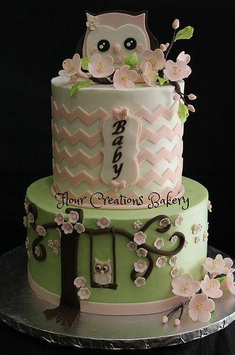 Owl Baby Shower Cake