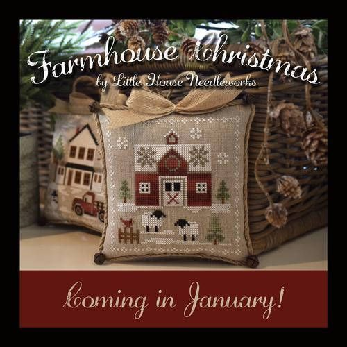 Coming Soon! NEW Little Red Barn #1 Farmhouse Christmas Stitch-A-Long SAL cross stitch patterns OPTIONAL Kit by Little House Needleworks by thecottageneedle