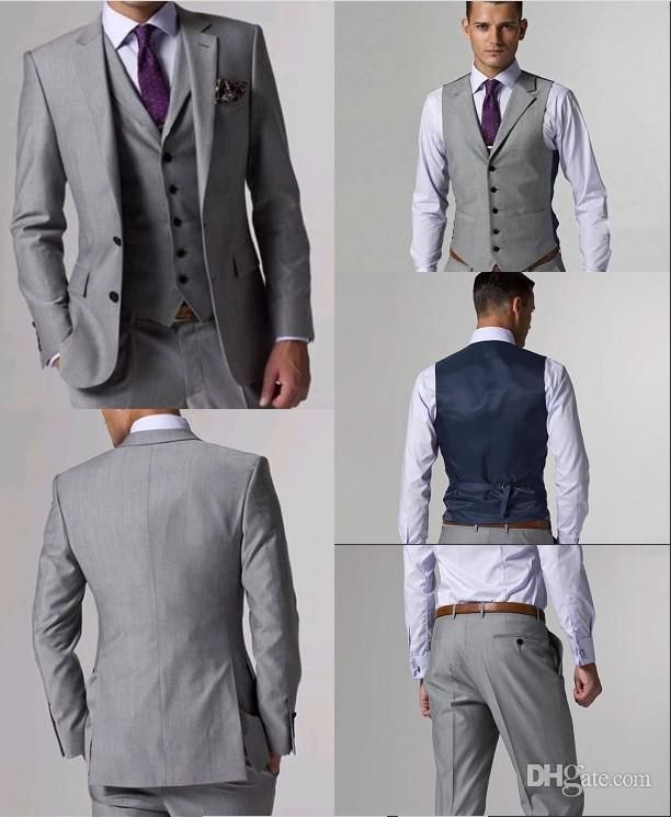 Wholesale Groom Tuxedos - Buy Custom Made Slim Fit Groom Tuxedos Light Grey Side Slit Best Man Suit Wedding Groomsman/Men Suits Bridegroom Jacket+Pants+Tie+Vest J156, $89.01 | DHgate