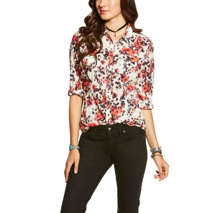ARIAT LADIES MARIAN SNAP SHIRT  This lightweight eye catching floral Ariat shirt give you more room to move while showing off a unique style.  $89.95