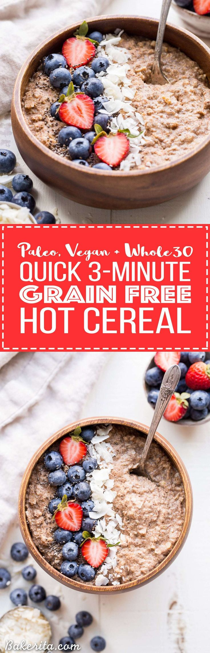 Not eating grains but missing your morning oatmeal? Look no further than this Quick Grain-Free Hot Cereal! This super easy porridge is made in just 3 minutes and it's gluten-free, paleo, vegan, and Whole30-friendly. This is a staple Whole30 breakfast!