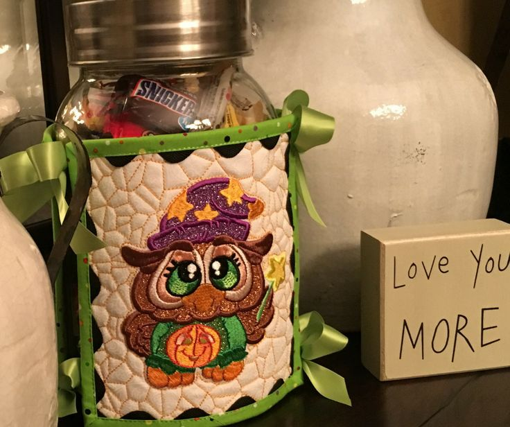 """Cute canister cover made with """"Spooky Buddies"""" from Sew Inspired by Bonnie!"""