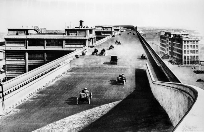 Photo: A rooftop racetrack: The Fiat Lingotto factory in Turin, Italy (1923)