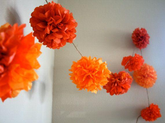 Orange Burst ... diy tissue paper pom garland // nursery // wedding decorations // birthdays // party decorations