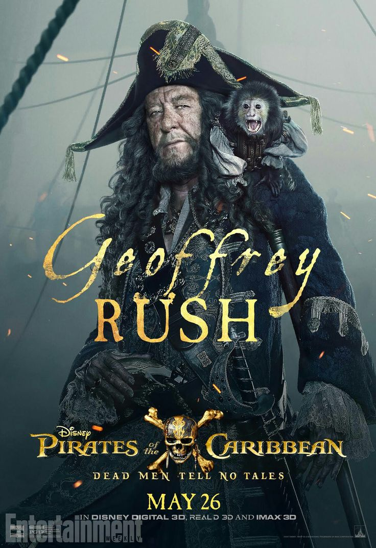 Geoffrey Rush as Hector Barbossa in Pirates of the Caribbean: Dead Men Tell no Tales