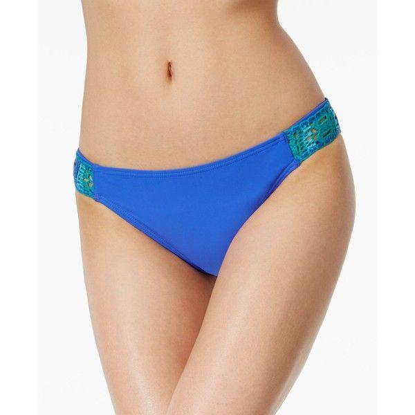 California Waves Crochet-Side Bikini Bottoms ($28) ❤ liked on Polyvore featuring swimwear, bikinis, bikini bottoms, blue, sheer bikini, transparent swimwear, crochet bikini, cut out bikini bottoms and blue crochet bikini