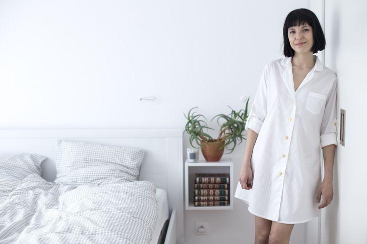 Koszula nocna damska Cassie White Stripes | Lunaby