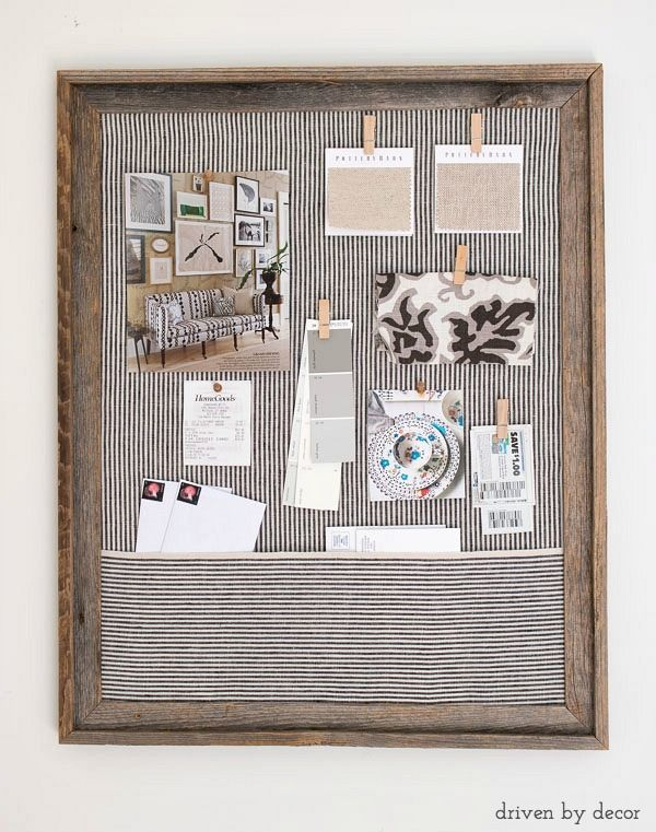 Simple step by step tutorial for making a DIY fabric covered cork bulletin board. A great way to get organized!