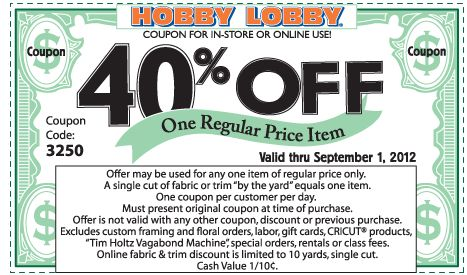 40% off a single item at Hobby Lobby, or online via checkout promo 4077 coupon via The Coupons App