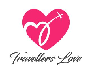 Travellers Love Logo design - Unique design logo of a heart and the airplane with some smoke trails in heart shape behind it, simple, creative and attractive design in pink and grey colors. This design can be useful for love and dating websites, travel and tours services, travel agent, wedding photography, matrimonial etc. Price $250.00