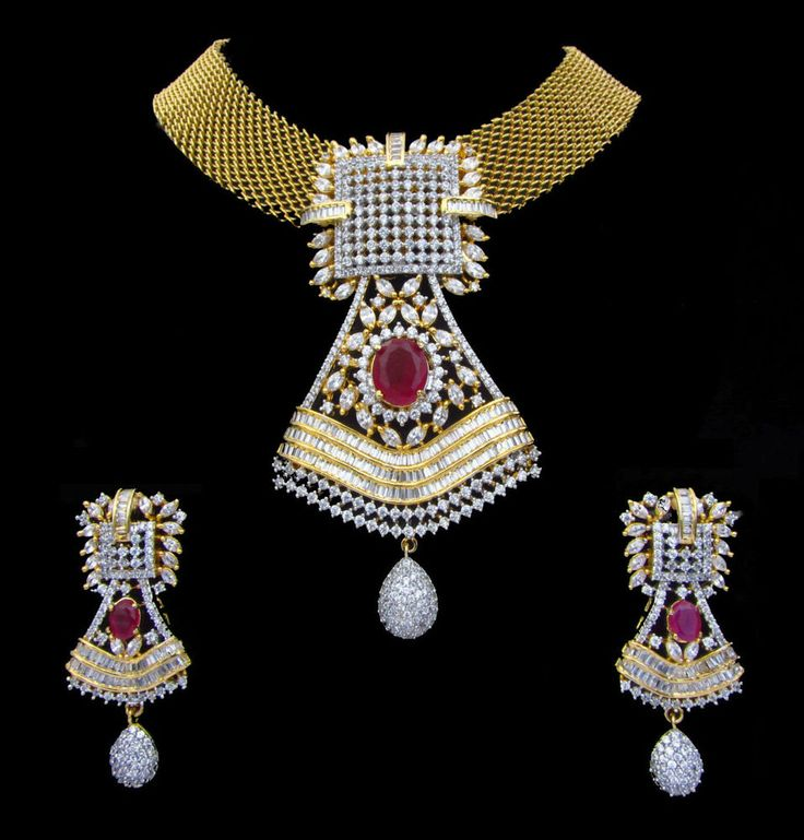 Ethnic Swam Jewelry. Indian CZ AD Gold & Silver Tone Bollywood Pendant Set. Wear with your ethnic outfits for any occasions. Make a style statement with this new unique, designer gold and silver tone stunning jewellery set. | eBay!