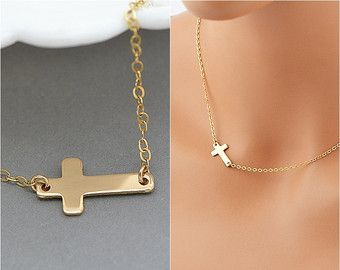 Sideways Cross Necklace, Gold Cross, Delicate Necklace, Side Cross Necklace, Minimal Necklace, Rose Gold Cross by malizbijoux. Explore more products on http://malizbijoux.etsy.com