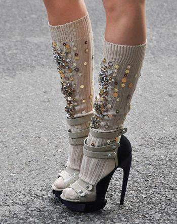 sequined knee socks