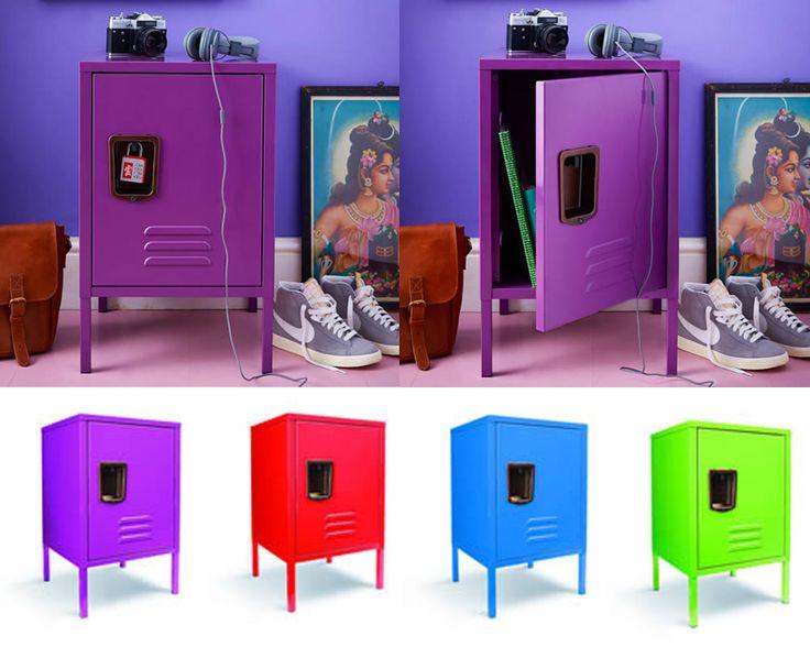 Small Retro Locker Hallway Storage Cabinet - purple, red, blue or green