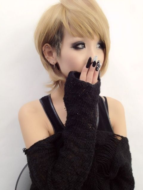 •○~ Gyaru fashion, ギャル♥  rokku style - short hair - makeup - deco nails - nail art - sweater - earrings - piercings - kawaii✮ ~•○