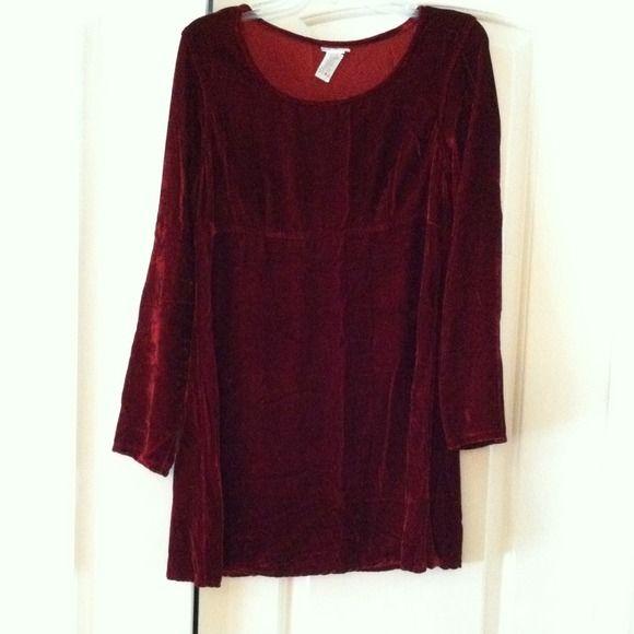 CMC velour dress. Dark maroon velour dress. CMC Dresses