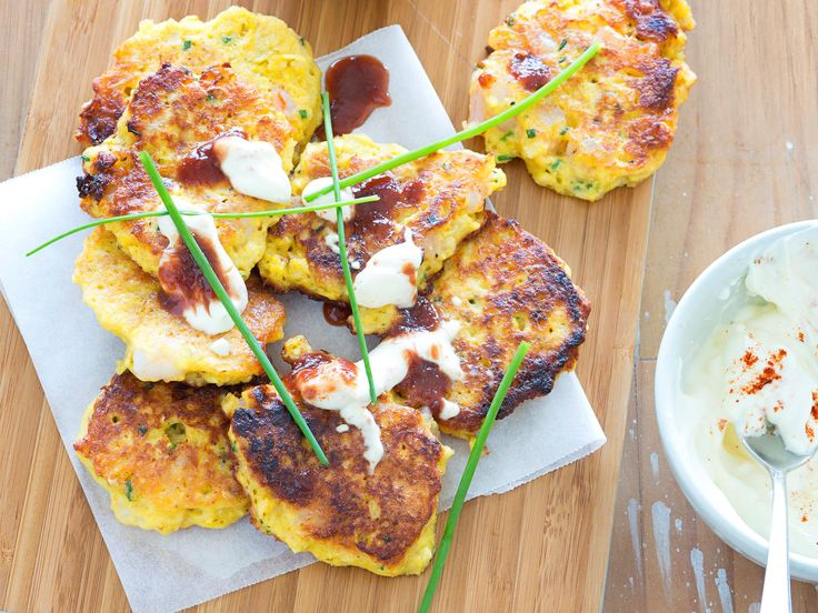 These sweetcorn and prawn fritters served with a lemony sour cream dressing taste sensational together.
