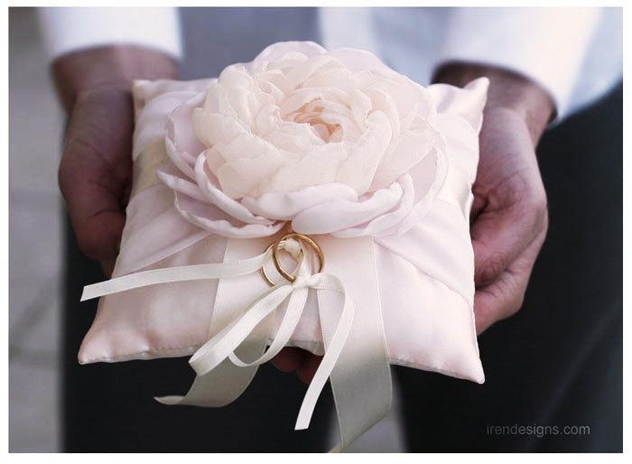 Ring Pillow. Light Pink Wedding Pillow. €30.00, via Etsy.