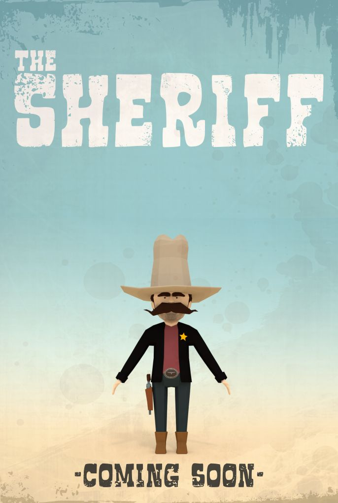 """The Sheriff"" poster draft version 2 - low poly work in progress"