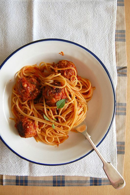 pasta with meat + aubergine polpette