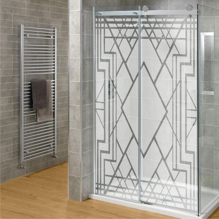 diy etched glass shower door set art deco design by miss decal inc grade pinterest. Black Bedroom Furniture Sets. Home Design Ideas