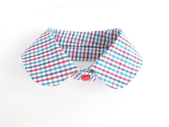 Cotton checked collar necklace Blue red pink white fabric