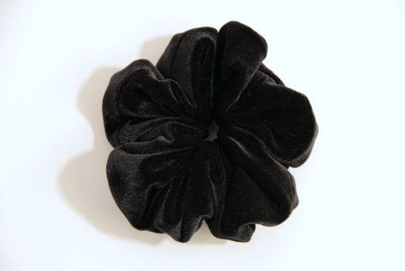 Simple Black Fake Fur Hair Scrunchie Chouchou by KHandmadeHK, $12.00