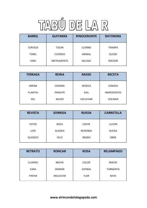 Joc de la paraula tabú, dominó i caseta de la rr / r