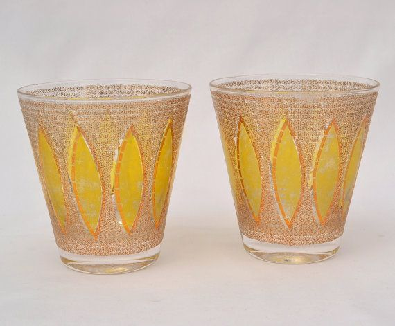 Pair of Culver Mid Century Cocktail Glasses, Yellow and Gold, Mad Men Style! #cocktail #glasses #midcentury #gold #yellow #madmen #vintage