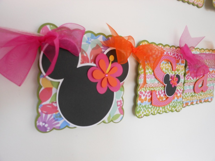 Minnie Aloha Luau Happy Birthday and Name banner. $38.50, via Etsy.