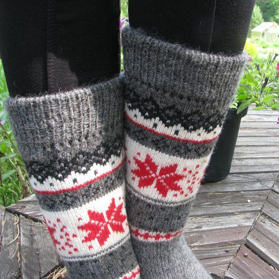 knit socks wool socks knitted socks Scandinavian pattern