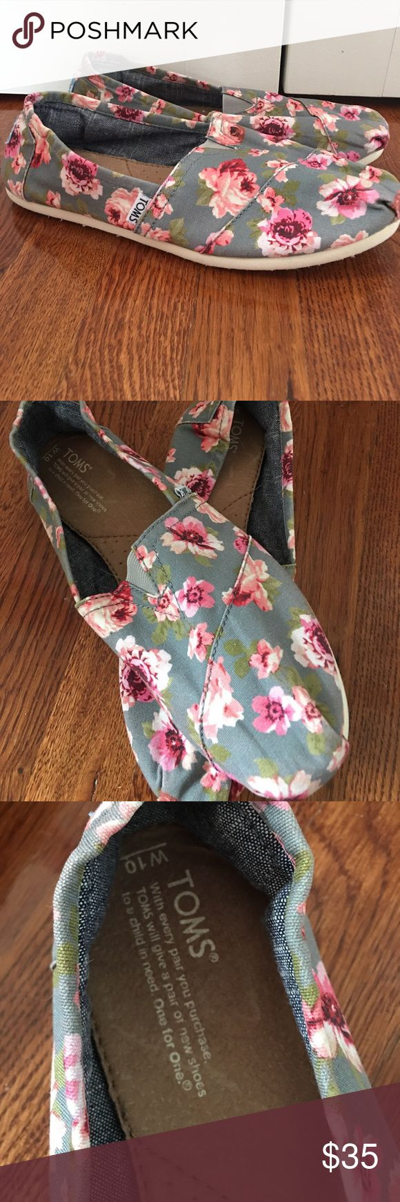 BARELY WORN floral TOMS Beautiful pink and grey floral print. Super comfortable. Barely worn. TOMS Shoes Flats & Loafers