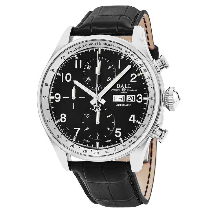 Ball Men's CM3038C-LFJ-BK 'Trainmaster' Dial Strap Chronograph Pulse meter Swiss Automatic Watch