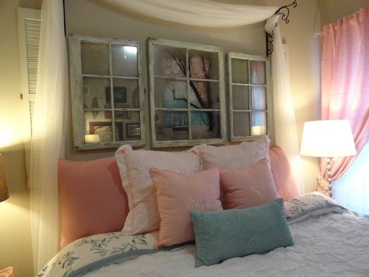 Isn't this a great idea for a bedroom? Use old windows and turn into shadow boxes or mirrors.